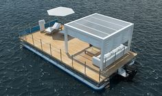 The Boathouse: a new definition to lakefront living! Floating Pontoon, Floating Boat, Floating House, Small Pontoon Boats, Pontoon Boat Party, Party Barge, Floating Architecture, Water House, Weekend House