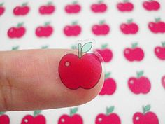 CLEAR Planner Stickers Red Apple Planner Stickers / Cute