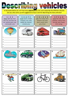 Have your students choose describing adjectives from the different boxes and write them under each vehicle. These adjectives are merely meant as suggestions,. English Activities, Speech Therapy Activities, Language Activities, Writing Activities, Kids English, English Class, English Lessons, Teaching English, English Language Learners