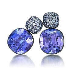 A Pair of Tanzanite & White Gold Ear Pendants, by Hemmerle – Each set with a cushion-cut tanzanite, together weighing 38.74 carats, to the pavé-set tanzanite surmount, mounted in white gold,