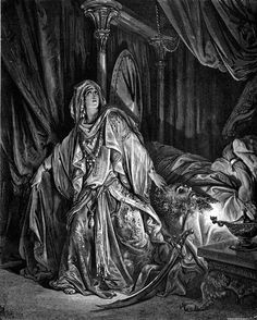 DORÉ, Gustave (1832-1883)  Judith and Holofernes (Judith 13:2-13) 1866 Engraving    http://41.media.tumblr.com/0ad82ae73d0c5f628d415a50760ef18a/tumblr_nqz8zv3Wad1tkwhs9o1_1280.jpg