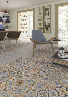 Floor tiles range Vodevil in 20X20cm size, is a porcelain tile with encaustic like finish.