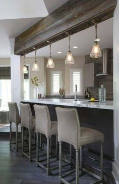 Best White And Wood Kitchen Rustic Stools 67 Ideas Small Space Kitchen, Kitchen On A Budget, New Kitchen, Kitchen Ideas, Kitchen Tips, Kitchen White, Kitchen Modern, Rustic Kitchen Lighting, Kitchen Island Lighting