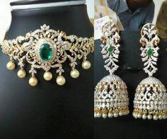 Diamond Choker cum Armlet and Jhumkas - Indian Jewellery Designs Real Diamond Necklace, Sapphire Necklace, Diamond Jewelry, Gold Jewelry, Diamond Necklaces, Choker Necklaces, Diamond Jhumkas, Diamond Choker, Gold Choker