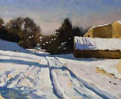 daily painting titled Les Tournillaires, winter - click for enlargement