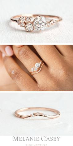 The rose gold Diamond Indie Ring features a cluster of diamonds in different sizes atop a delicate band. Our Curved Band nestles nicely with the curves of this unique engagement ring, for a lovely wedding set! Gold Engagement Rings, Engagement Ring Settings, Different Engagement Rings, Delicate Engagement Ring, Solitaire Engagement, Thin Diamond Wedding Band, Wedding Jewelry, Wedding Rings, Wedding Sets