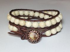 Men's Riverstone Double Wrap Bracelet on by DesignsByJen1 on Etsy, $35.00