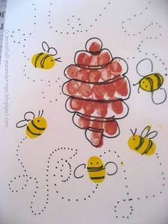 Looking for Thumbprint Honey Bee & Hive ? Then you are at the right place. See - Artsy Craftsy Mom Insect Crafts, Bug Crafts, Preschool Crafts, Crafts For Kids, Arts And Crafts, Honey Bee Hives, Honey Bees, Fingerprint Art, Footprint Crafts