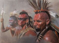 portrait sketches of three Mohawk Indians painted for a client who asked for the fine native american actor Wes Studi to be depicted.This painting was to appear in a magazine article but eventually was not used, hence the sale. Native American Actors, Native American Warrior, Native American Paintings, Native American Pictures, American Indians, Westerns, Woodland Indians, Arte Tribal, Portrait Sketches