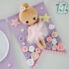 Personalized felt baby pennant banner name Ballerina theme Felt Crafts, Diy And Crafts, Crafts For Kids, Paper Crafts, Baby Name Banners, Pennant Banners, Felt Flowers, Fabric Flowers, Diy Y Manualidades
