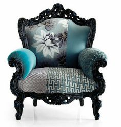 mixed monochromatic fabric patterns and prints upholstered chair