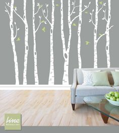Wall Birch Tree Decal Forest,  Birch Trees, Birch Trees Vinyl, Birch Tree Wall Decal, Kids Vinyl Sticker Removable - 84  tall (7 feet). $89.00, via Etsy.