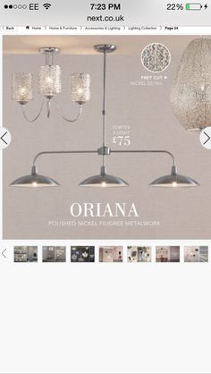 Would possibly want these lights for a kitchen. White/silver theme. Next pewter light.