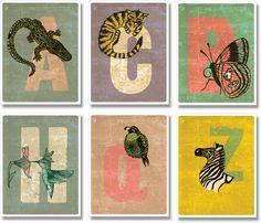 From Artist, Graphic Designer Tarja Savonen. children's alphabet with a vintage look