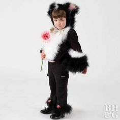 You've never seen such a sweet-smelling skunk as your little mademoiselle in this cuddly costume.