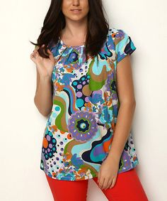 Look at this Scarlett Blue Floral Ruched Cap-Sleeve Top - Women on #zulily today!