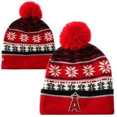 New Era Los Angeles Angels of Anaheim Cuffed Knit Hat with Pom - Red