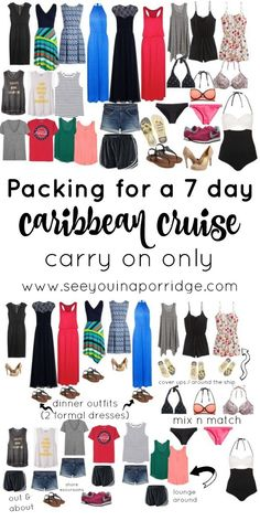 (Over) packing for a 7 day Caribbean cruise using just a carry on - this could be used for any beach or summer vacation though!
