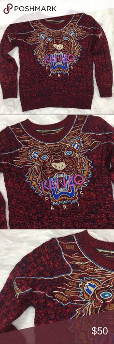 Kenzo Paris Sweater Maroon Lion Face S • Brand: Kenzo • Size: there is no size tag. Appears to be a small but please check measurements • Material: No tab • Previously owned, excellent used condition  • Length 23 Bust 20 • Other info: all the inside tags have been removed Kenzo Sweaters Crew & Scoop Necks