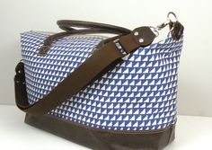 Overnight Bag / Weekender Bag / Leather Travel Bag / Blue and White Duffel / Large Zippered Overnight Bag / Carryon Luggage