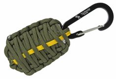 """The Friendly Swede (TM) Carabiner """"Grenade"""" Survival Kit Pull with Tin Foil, Tinder, Fire Starter, Fishing Lines, Fishing Hooks, Weights, Swivels, Dobber, Knife Blade Wrapped in 7ft of 500 lb Paracord in Retail Packaging (Army Green with Yellow Line) - Lifetime Warranty The Friendly Swede http://smile.amazon.com/dp/B00CO2PEXA/ref=cm_sw_r_pi_dp_LvWWub04X9CT2"""