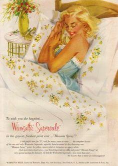 1957 Wamsutta Mills Bed Linens~Sheets Vintage Print Ad