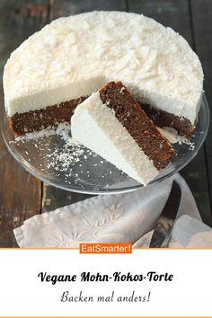 Vegane Mohn-Kokos-Torte Vegan Cake raw z vegan cakes Dessert Sans Gluten, Bon Dessert, Vegan Dessert Recipes, Vegan Sweets, Baking Recipes, Coconut Dessert, Cheap Clean Eating, Clean Eating Snacks, Poppy Seed Cake