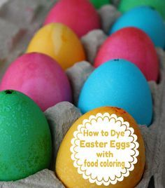 How to dye bright Easter eggs with food coloring!  No dye kit! needed! www.skiptomylou.org #eastereggs #easter #recipe