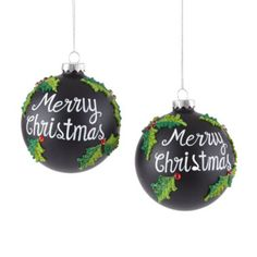 Peppermint Twist Set of 2 Merry Christmas Chalkboard Ornaments found at