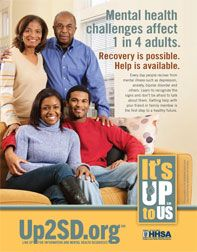 Mental health challenges affect 1 in 4 adults. Recovery is possible. Help is available.