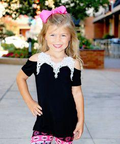 Black Crochet-Accent Keyhole Tunic - Toddler & Kids #zulily #zulilyfinds