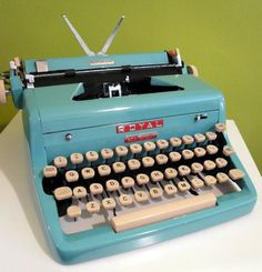 1950s Blue Royal Portable Manual Typewriter w/ Case by joevintage