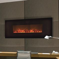 "electric...5800 btu equiv.  Modern Flames 58"" Wall-Mount Linear Electric Fireplace"