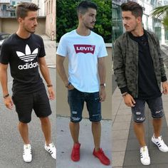 Fashion mens casual summer shorts pants New Ideas Summer Outfits Men, Summer Wear, Summer Shorts, Casual Summer, Casual Outfits, Stylish Men, Men Casual, Urban Fashion, Mens Fashion