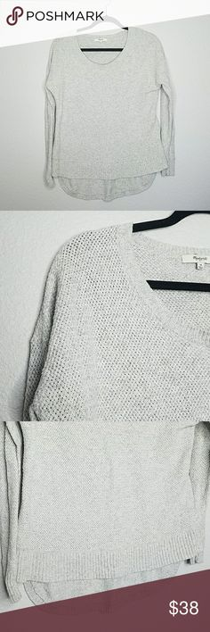 MADEWELL Chronicle Texture Pullover Sweater Medium Very gently used, light grey high low hem.  Super soft! Scoop Neck, size medium.  PRODUCT DETAILS: Knit from our favorite super soft yarn, this touchable textural sweater has relaxed drop sleeves and a cool exaggerated shirttail hem.   True to size. Cotton/viscose/nylon. Hand wash. Import. Madewell Sweaters Crew & Scoop Necks