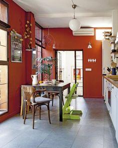 ¡¡Una cocina en rojo!! #cocínasrománticas #cocinascampestres #cocinas #reformas #decoración