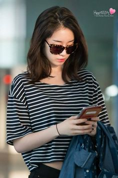 Jiyeon Park T-ara Airport Fashion. Print: Stripes - Crop Top.