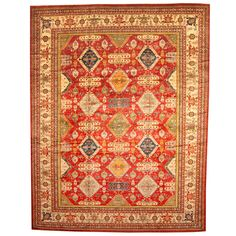 Herat Oriental Afghan Hand-knotted Vegetable Dye Super Kazak Red/ Ivory Wool Rug (12'8 x 16'8)