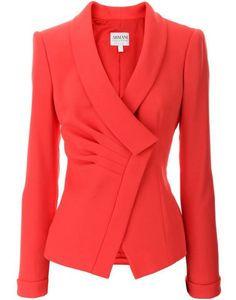 Armani Collezioni Coral Diagonal Ruffled Blazer (Expensive i. Mode Outfits, Fashion Outfits, Modest Fashion, Work Fashion, Fashion Design, Red Blazer, Coral Blazer, Blazer Jacket, Coral Jacket