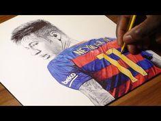 Neymar Jr Drawing - FC Barca - DeMoose Art - YouTube