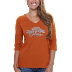 This is my favorite! Texas Longhorns Women's Bling Football Three-Quarter Length V-Neck T-Shirt -  Burnt Orange