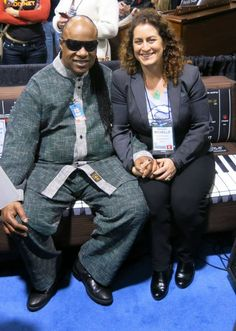 Stevie Wonder enjoying MiniWoouf with Moog Foundation (The NAMM Show, CA)