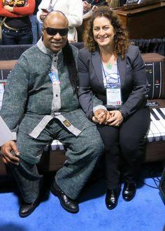 Stevie Wonder enjoying MiniWoouf with Moog Foundation (The NAMM Show, CA)