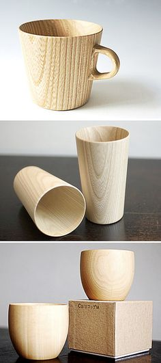 Cara and Kami wooden cup series is hand-crafted by Hidetoshi Takahashi in Japan. Made from Castor Aralia wood and Japanese Linden wood with a food-safe polyurethane coating inside.