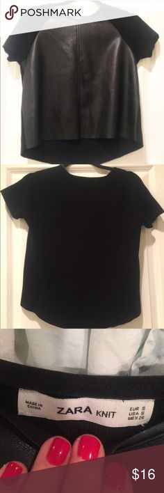 Zara Faux Leather and Knit SS Cute Faux Leather and knit top by Zara!  Great staple piece to add to any closet!  Size S.  In excellent condition. Zara Tops Tees - Short Sleeve