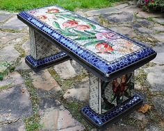 mosaic outdoor garden bench DIY Garden Yard Art When growing your own lawn yard art, recycled and up Mosaic Garden Art, Mosaic Art, Mosaic Crafts, Mosaic Projects, Stone Mosaic, Mosaic Glass, Stained Glass, Outdoor Garden Bench, Garden Benches