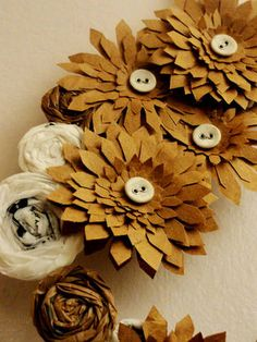 wreath made from old paper and plastic grocery bags.