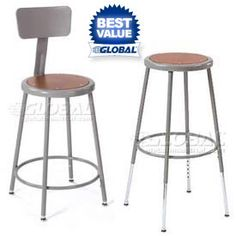 Steel Shop Stool With Round Seat ... would be fab with a little spray paint :)
