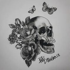 Tattoo design by Paty Oliveira Tattoo Designs, Skull, Photo And Video, Tattoos, Drawings, Instagram, Tatuajes, Tattoo, Design Tattoos