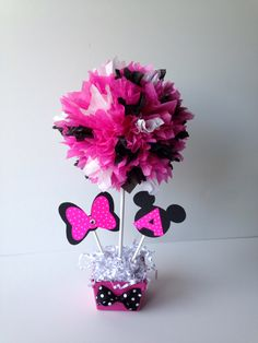 Minnie Mouse birthday party decoration, centerpiece, centerpieces, pink, polka dot by AlishaKayDesigns on Etsy https://www.etsy.com/listing/158687732/minnie-mouse-birthday-party-decoration